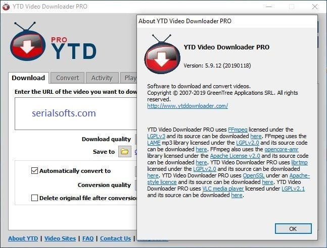 YTD Video Downloader Pro 5.9.13.3 Lifetime Crack Plus Serial Key 2019